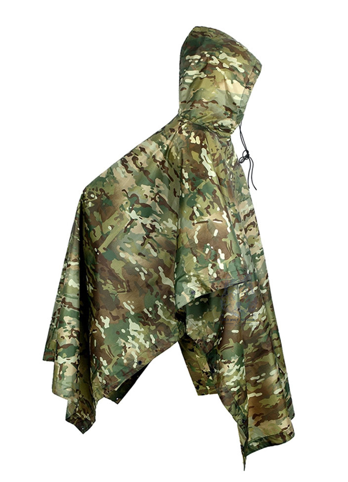Camouflage ghillie raincoat jungle multifunctional poncho Military Tactical Rain Poncho for Camping Hiking Hunting 15-0001(China (Mainland))