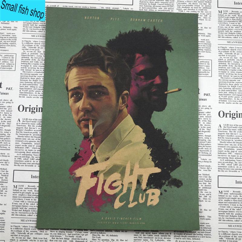 Fight Club Brad Pitt Movie Poster Home Furnishing decoration Kraft Movie Poster Drawing core Wall stickers