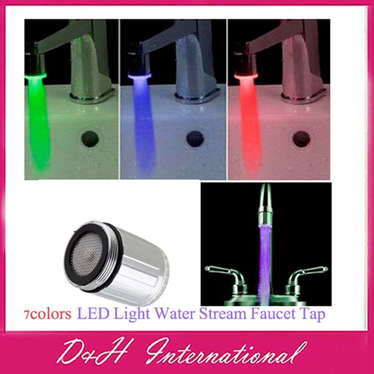 LED Light Water Stream Faucet Tap 7 Colors Changing mini light faucet HT8921 - D&H International Co., Ltd. store
