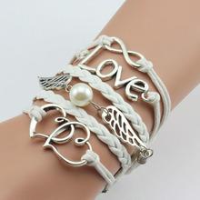 Bracelets Vintage Owl Bird Anchor wing infinity bracelet Multicolor woven leather bracelet & Bangle BQK001 (19 types available)(China (Mainland))