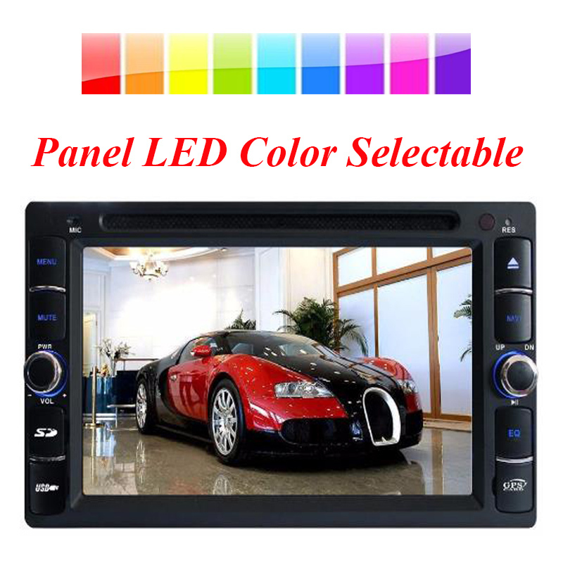 universal 2 din car dvd player with gps navigation radio RDS in dash car stereo touch screen head unit LED color selectable(China (Mainland))