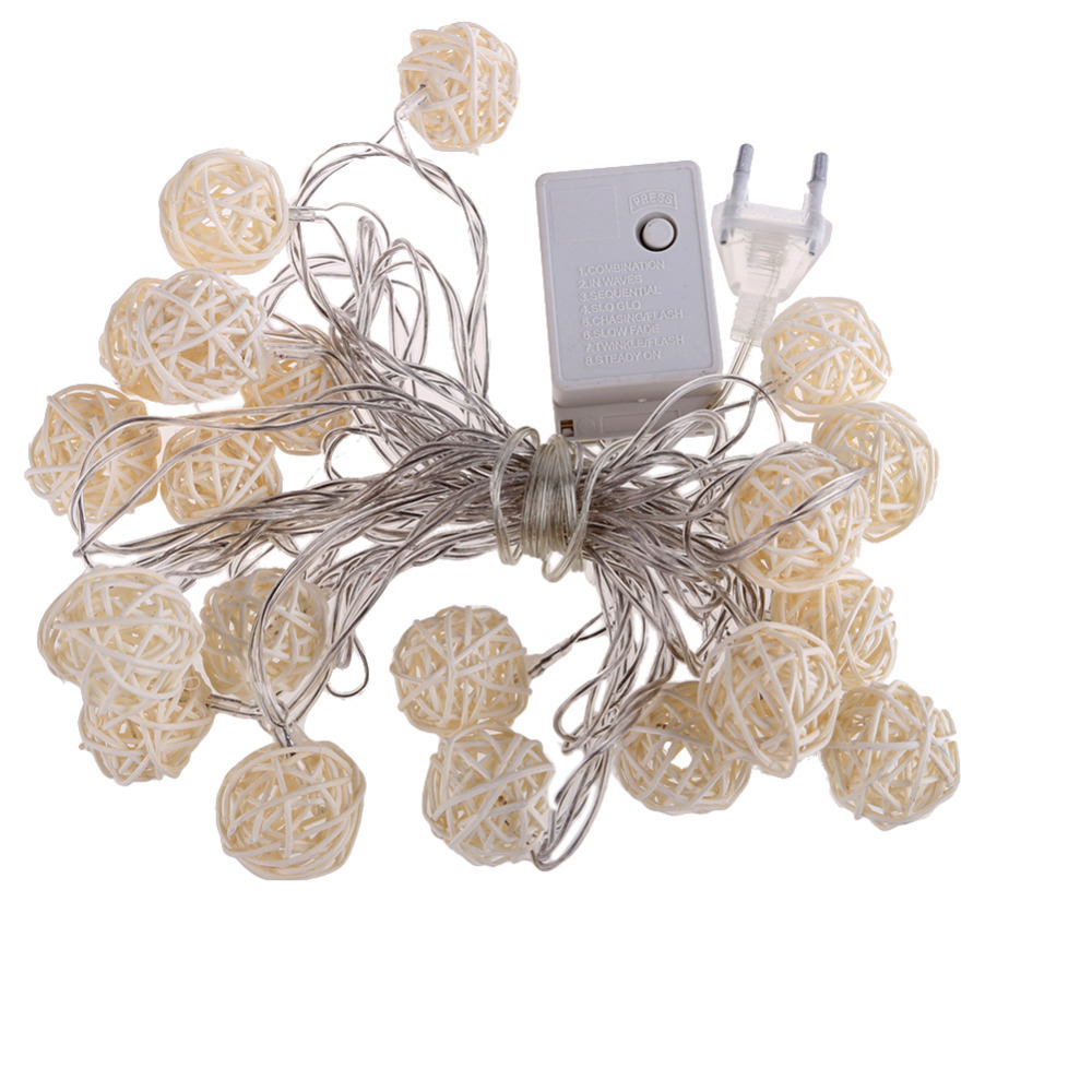 Free Shipping110v/220V Led String Christmas Light White Rattan Wooden Cane Wicker Balls for Holiday/Party/Wedding/Decoration(China (Mainland))