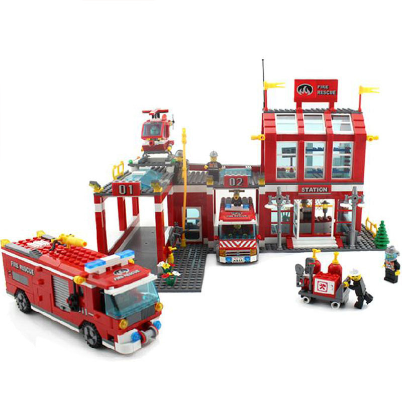 City Set Series Fire Station Rescue Control Regional Bureau 911 Toys Building Blocks Compatible with Legofigure(China (Mainland))