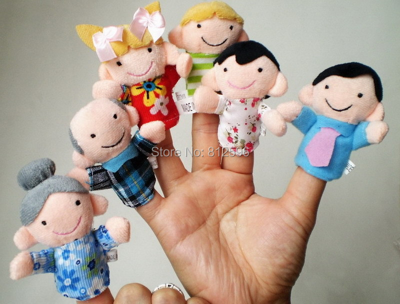6pcs Baby Cartoon Plush Happiness Family Finger Puppets of Doll Set Funny and Educational Story Telling Toy Child Gift(China (Mainland))