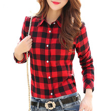 Buy 2017 Hot Sale Women Shirts tops new 100% Cotton Plaid Shirt Fashion Female Student Women's Long-sleeve Plus Size Basic Blouses for $7.78 in AliExpress store