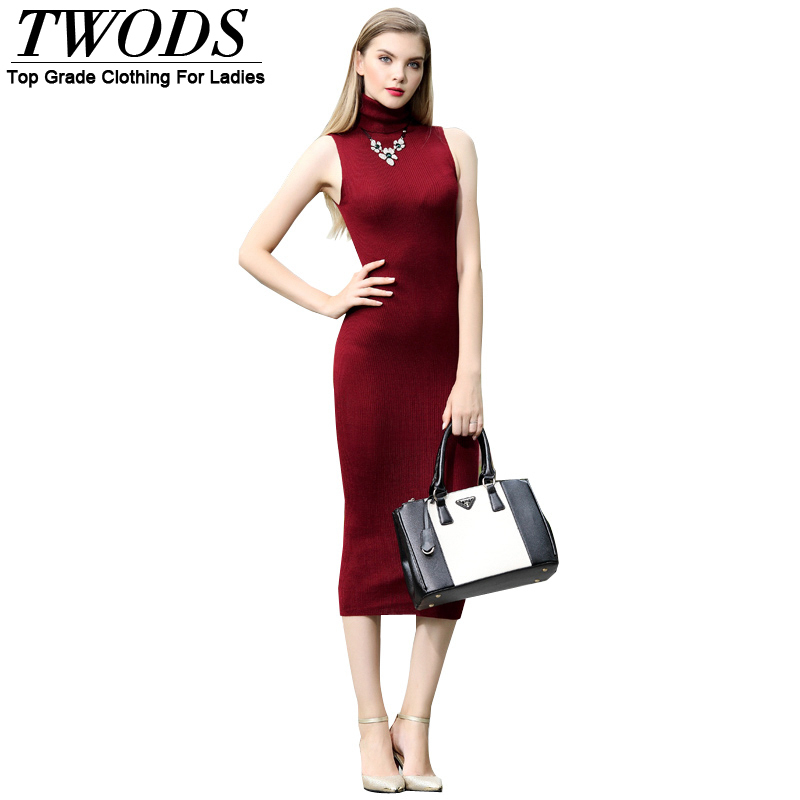 Twods Autumn Sheath Knitted High Neck Midi Sweater Dress For Women Sleeveless Solid Plum Apricot Plus Size Vestidos LongosОдежда и ак�е��уары<br><br><br>Aliexpress