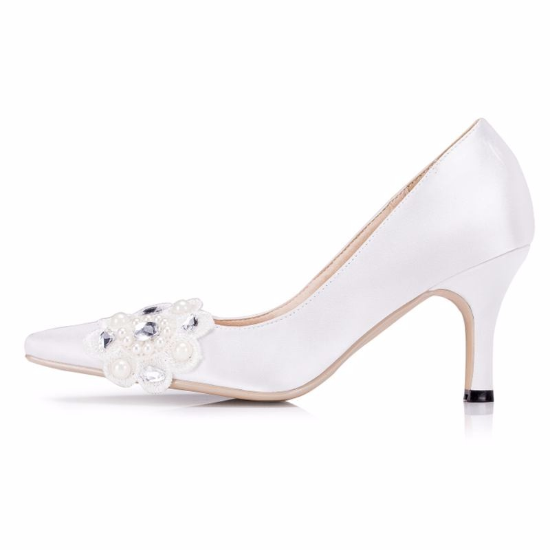 Pearls Rhineston Women Wedding Shoes High Heels White/Ivory Lace Satin Bridal Shoes Heels Size EU34-41 Spring Autumn Shoes 1539