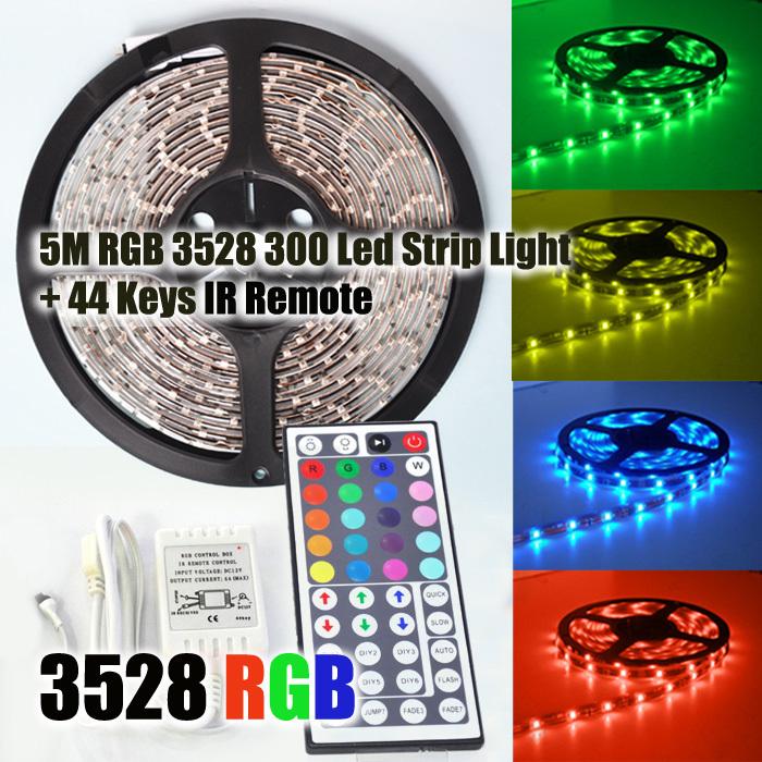 RGB 3528 SMD Flexible Waterproof 300 LED Strip Light + 44 key IR Remote Control !!  Free shipping!!!