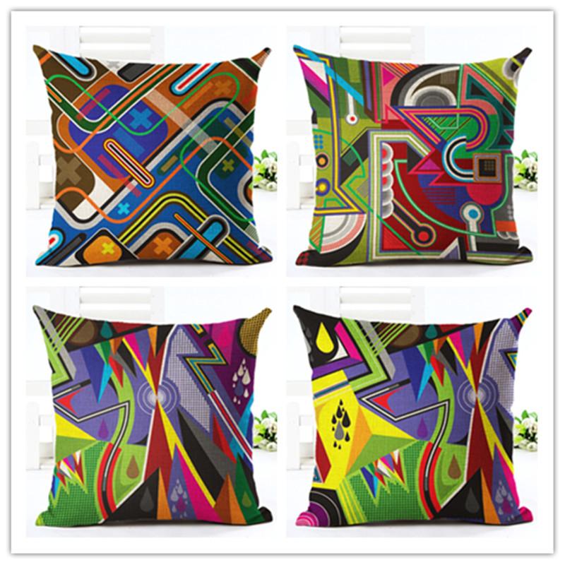 New Arrival Linen Cushion Geometric Printed <font><b>Bohemian</b></font> Style Cushion Pillow Throw Sofa <font><b>Home</b></font> <font><b>Decor</b></font> Couch Cojines