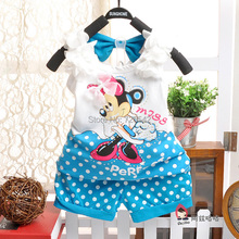 2015 summer Babi kids Minnie Mouse Clothing sets Cotton casual style baby girls clothing vest+shorts suit Girls clothes A0407(China (Mainland))