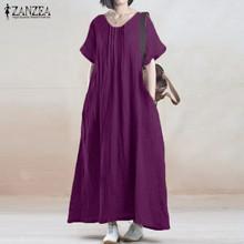 Buy ZANZEA 2017 Summer Women Vintage Loose Dresses Solid Casual Short Sleeve O Neck Pockets Vestidos Robe Plus Size Long Dress for $13.99 in AliExpress store