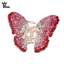 Elegant Crystal Butterfly Hair Claws Clips Accessories For Women Multicolor Jaw Clips Free Shipping