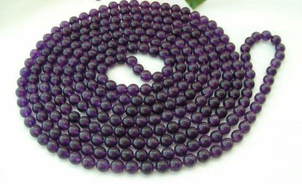"hot free Shipping new 2014 Fashion jewelry 100"" 8mm Round Purple Amethyst Beads Necklace BV04(China (Mainland))"