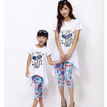 Mother and Daughter Clothing Sets 2016 Mother Daughter Dresses Fashion Cat Design Dress+Legging 2pcs/lot Family matching clothes