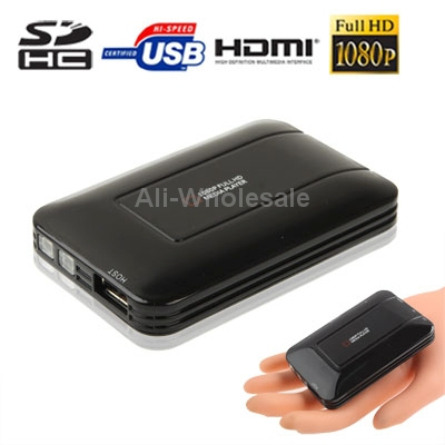 Black Mini Full HD 1080P HDMI MultiMedia HDD player with SD/MMC/SDHC Card reader/HOST USB Function External HDD, Size:85x55x10mm(China (Mainland))