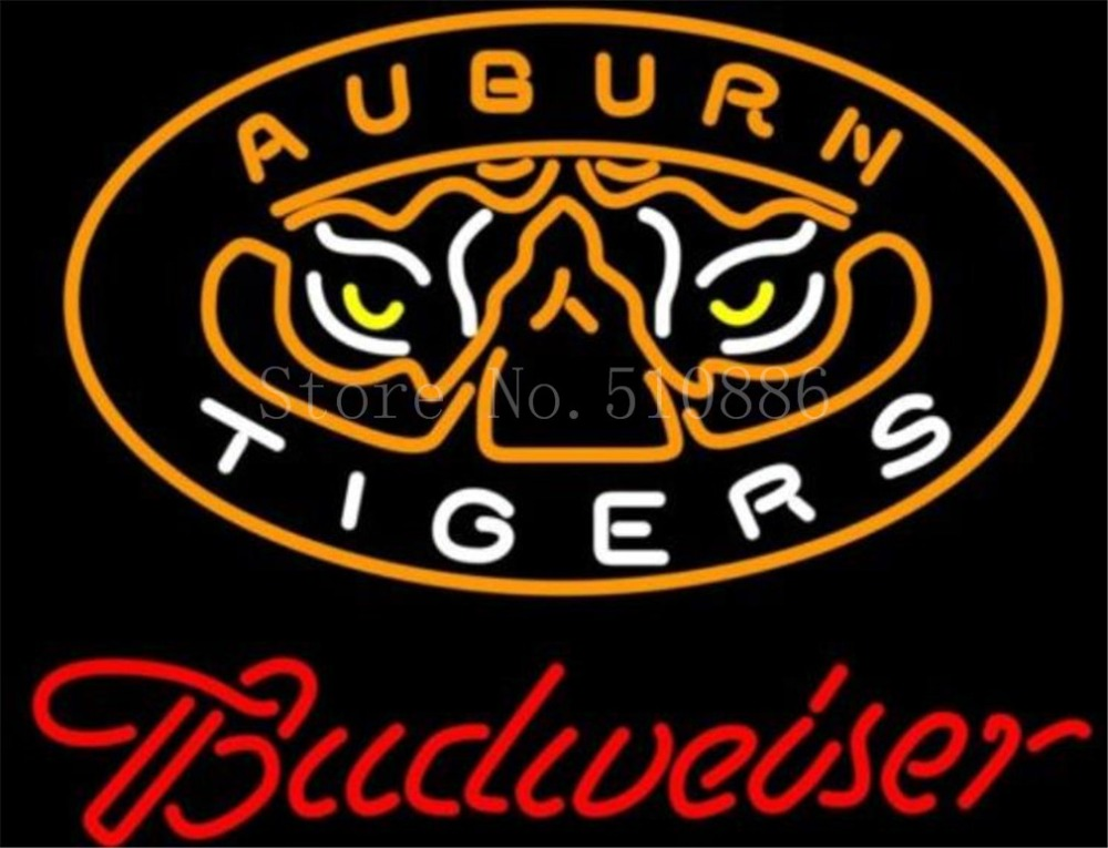 "NEON SIGN For NCAA College Basketball Auburn Tigers Budweiser GLASS Tube BEER BAR PUB store display Shop Light Signs 20*15""(China (Mainland))"