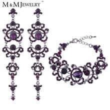 Vintage Unique Style Butterfly Shape Purple Austrian Crystal Long Earrings + Bracelets Wedding Bridal Jewelry Sets EH168+SL029(China (Mainland))