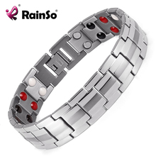 Rainso Fashion Jewelry Healing FIR Magnetic Titanium Bio Energy Bracelet For Men Blood Pressure Accessory 8.5″ Silver Bracelets