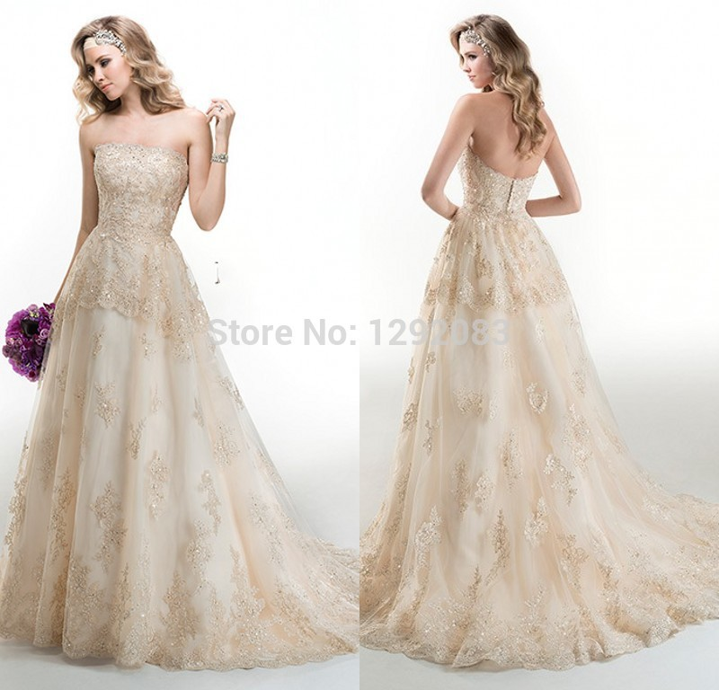 Chic strapless a line champagne lace with beads organza for Plus size champagne colored wedding dresses