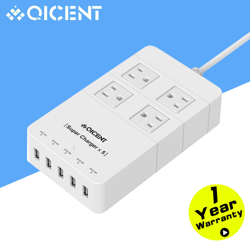 QICENT 4-Outlet Home/Office Surge Protector 4.9 ft. Power Cord 5-Port 40W USB Surper Charger for iPhone/Samsung/HTC/ (White)(China (Mainland))