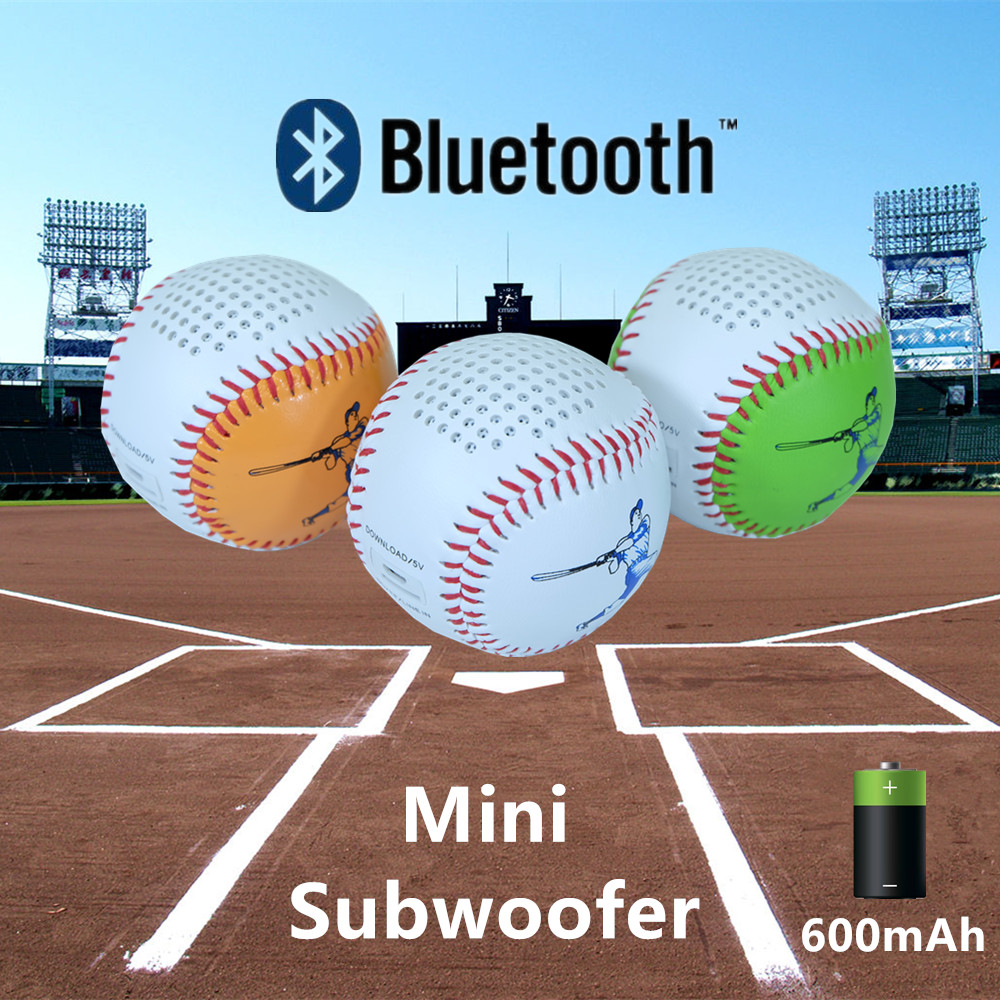 USB charge and line in Bluetoot speaker Baseball Roly Poly Design TF card download play 600mAh battery mini portable subwoofer(China (Mainland))