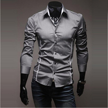 Men plus size casual shirt long-sleeved  Slim Fit Stylish Solid Turn-down collar men shirt Camisa Masculina new autumn male top(China (Mainland))