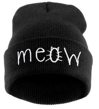 Hot Sale 2014 New Beanies MEOW Hats toucas Hip-Hop Cotton Knitted Hat Caps Casual Skullies Hip-hop London Men And Women cpas(China (Mainland))