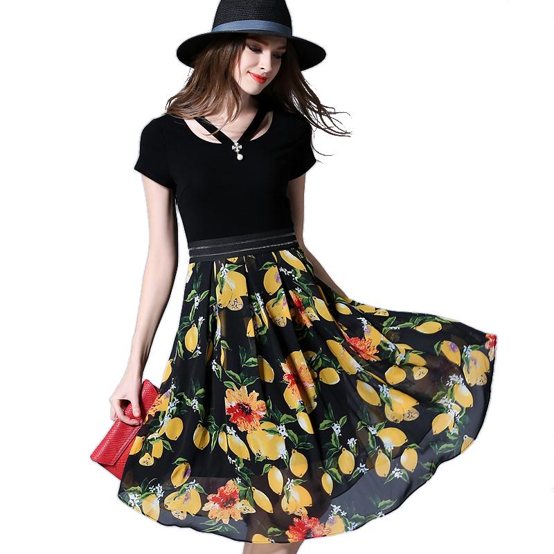 Women Plus Size Fashion Lemon Print Chiffon Dresses 2016 New Short Sleeve Large Size 5XL Summer Casual Dress 2859(China (Mainland))