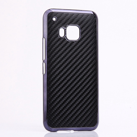 M9 Luxury Business Style Hard Plastic Case With PU Skin Carbon Fiber Chromed Edge Cover For HTC One M9 phone Cases Black(China (Mainland))