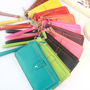 2013 New Style Candy Colors Lady Purse Multipurpose Handbag PU Leather Card Bag Free Shipping Wholesale