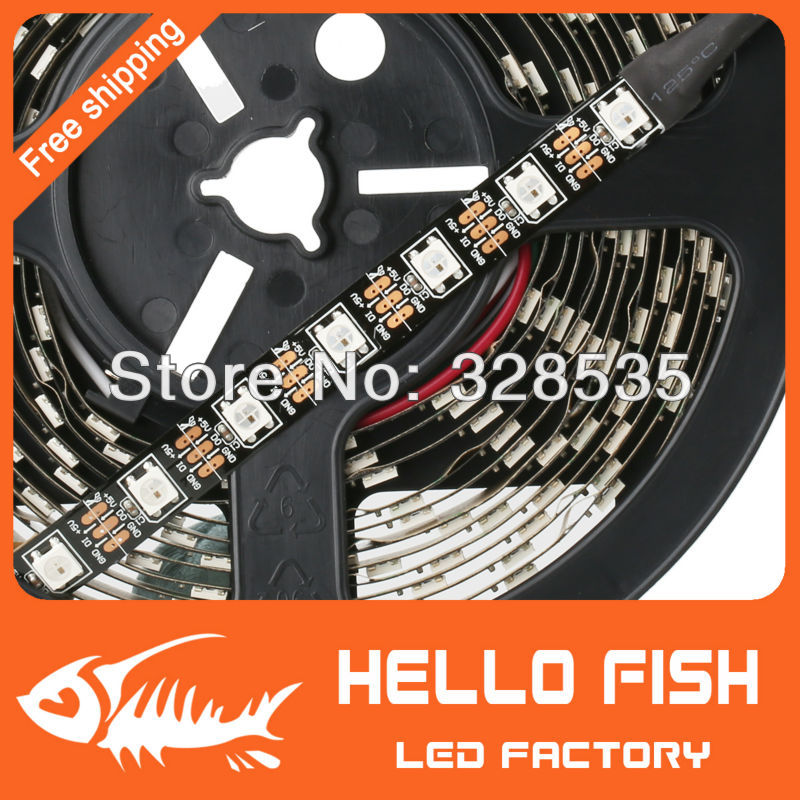 HELLO FISH 4M Built-in WS2812B Black board LED strip,240 LED 240 pixel matrix LED strip,Not waterproof, Display DIY led strip(China (Mainland))