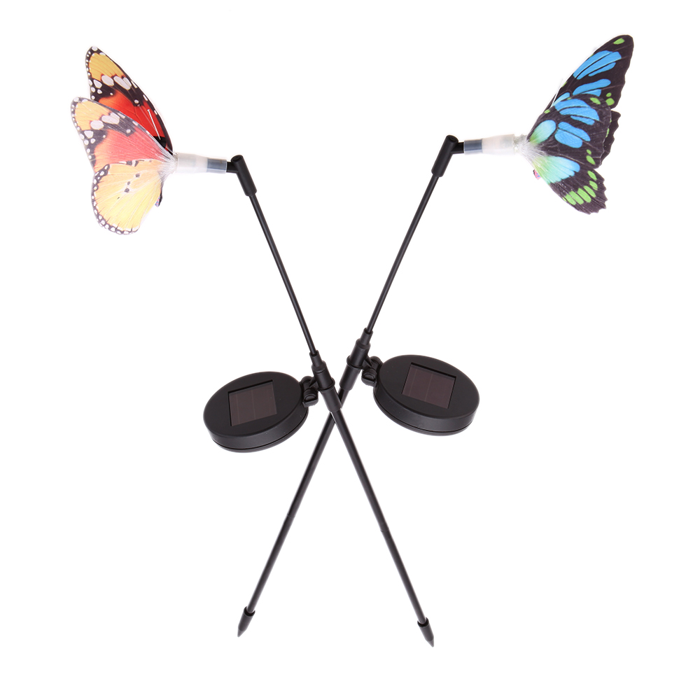 2Pieces RGB LED Color Changing Light Rechargeable Solar Power Fibre Optical with Photo Cell Light Sensor Butterfly Garden Lamp(China (Mainland))