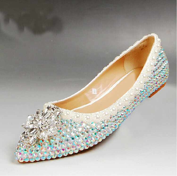 2015 Free Shipping Rhinestone Flat Heels Wedding Shoes Sparkling Bridesmaid Shoes Comfortable Flat Heel Party Prom Dancing Shoes<br><br>Aliexpress