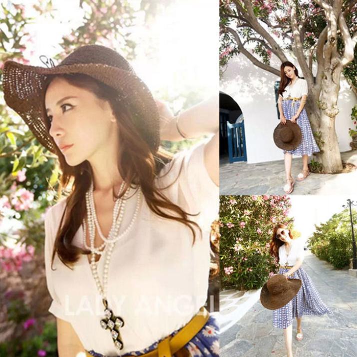 Brand new 2015 Fashion Women  Bohemia Summer Straw Sun Visor Wide Large Brim Beach Straw Hat  Одежда и ак�е��уары<br><br><br>Aliexpress