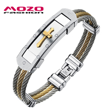 Wholesale 2016 sale new fashion men's jewelry bracelet Popular stainless steel Classic Gold Silver Cross Bangles for men MGH782(China (Mainland))