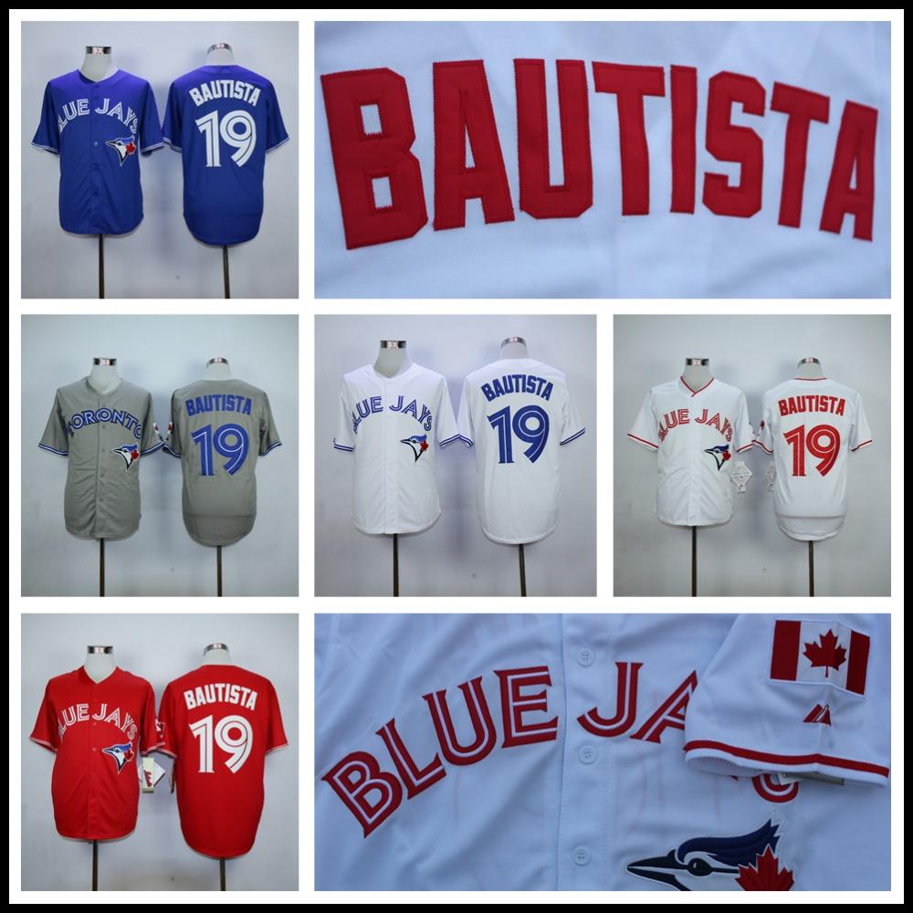 Jose Bautista Jersey, Cheap Toronto Blue Jays 19# Baseball Jersey, High Quality Stitched Blue Gray Red White(China (Mainland))
