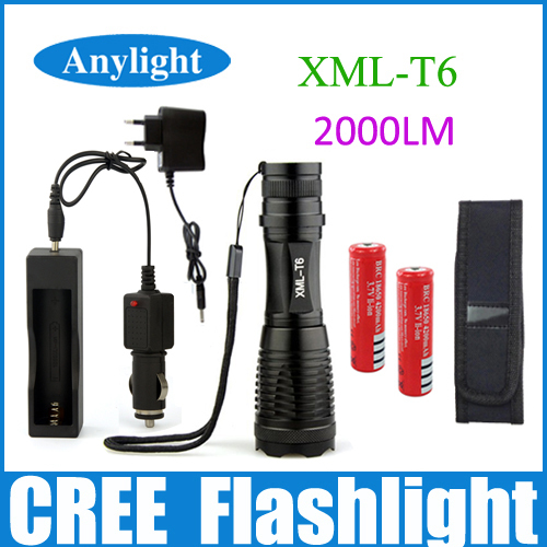 LED torch CREE XML-T6 2000 Lumens High Power Focus lamp Zoomable lights+DC/Car Charger + 2*18650 battery+Holster Holder WLF44(China (Mainland))