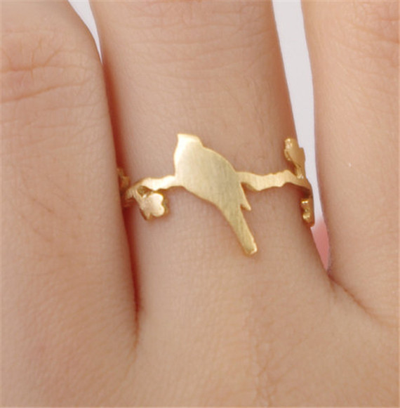 New Fashion Jewellry Silver Gold Plated Tree Retro Vintage Bird on Branch Ring For Men Birthday Accessories(China (Mainland))