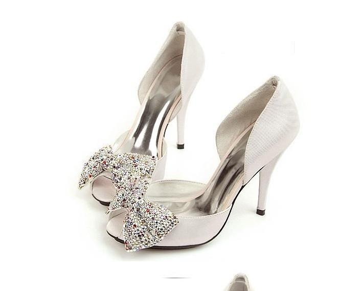 Фотография Popular women Shoes Silver Rhinestone Wedding Bridal Dress Shoes Genuine Leather Crystal Sandals Womens Sexy Platform
