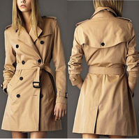 2015 Woman Long Trench Coat With Sashes Runway Catwalk Khaki  Brand Autumn Winter Plus Size Double Breasted Windbreaker F01