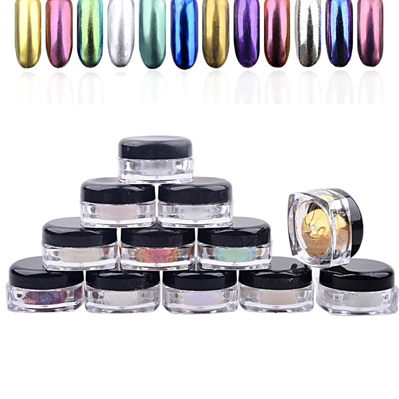 New 12pcs/set Shinning Magic Mirror Powder Dust Nail Glitters DIY Nail Art Sequins Chrome Pigment Decorations Tools