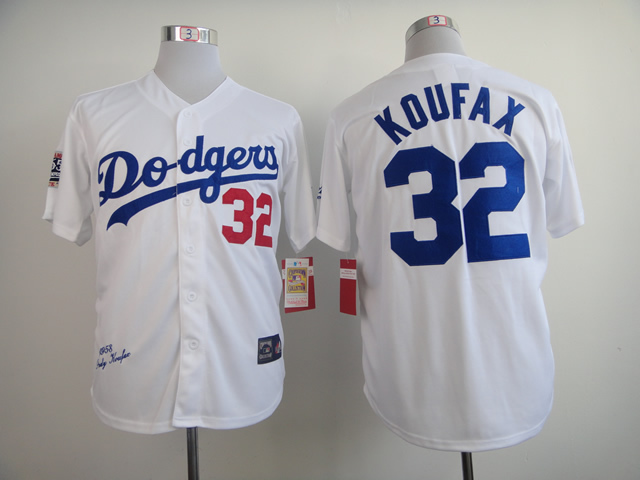 High Quality Los Angeles Dodgers Mens Jerseys #32 Sandy Koufax White Throwback Baseball Jersey Embroidered Logos Mixed Orders(China (Mainland))