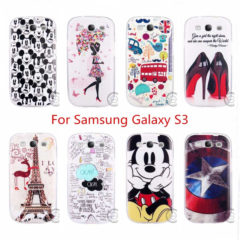 New Fashion Case For Samsung Galaxy S3 i9300 SIII Luxury Patterns Soft TPU Silicon Case Cover Shell Phone Bags 2015 Old Version(China (Mainland))