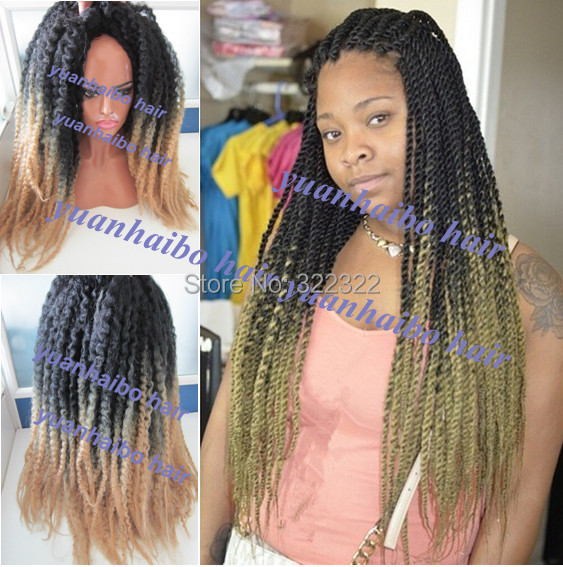 New!! Colored two tone kinky afro ombre marley twist 100