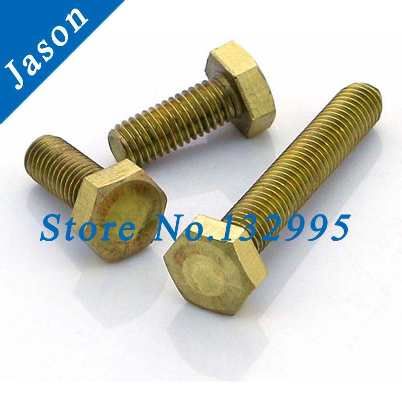 M6*50  Brass hexagon bolt  Brass  screw  Metric Thread  Brass hex bolt M6*L<br><br>Aliexpress