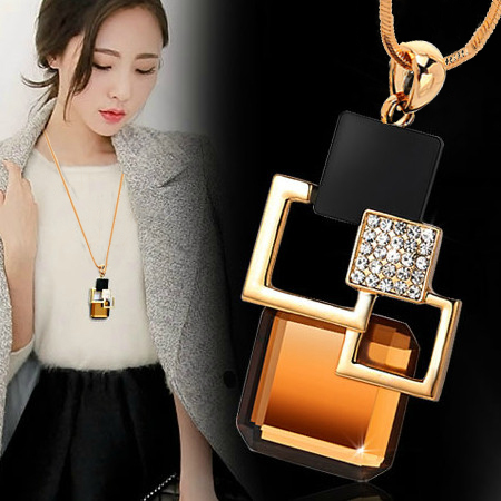 Golden Hollow Geometric Big Crystal Stone Pendant Necklace for women