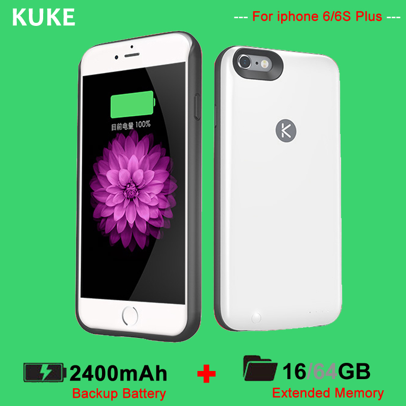 "KUKE KUNER 2400mAh Power Case & 16G Memory Extended Battery charger Case Backup cover Power Bank for iPhone 6/6s Plus 5.5""(China (Mainland))"