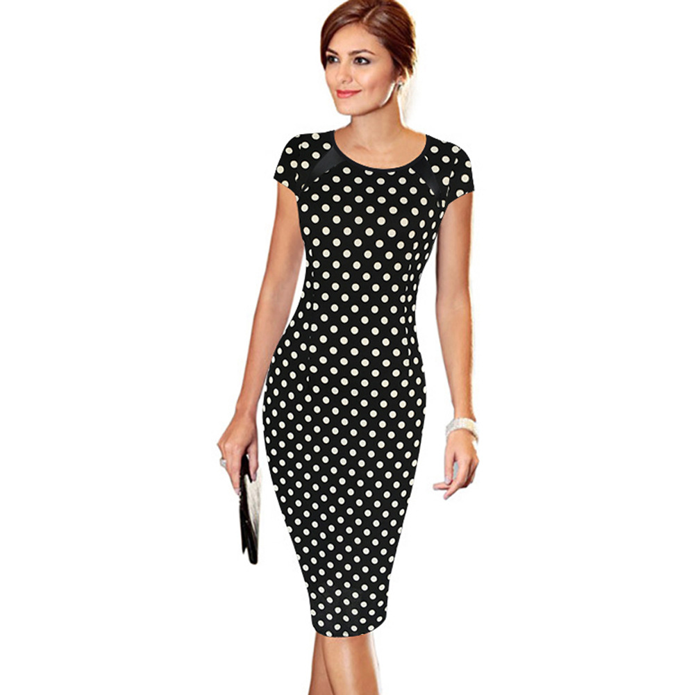 Women's 2016 Summer Polka Dot Printed Synthetic Leather Wear to Work Office Business Casual Pencil Dress vestidos(China (Mainland))