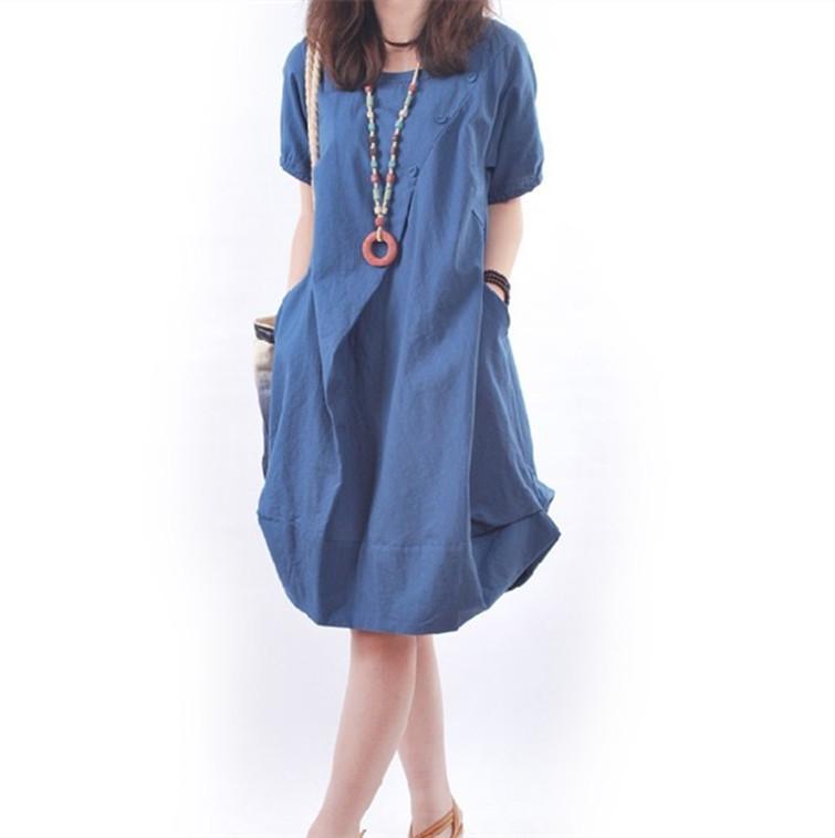 2016 New summer font b maternity b font dresses cotton and linen plus size women s
