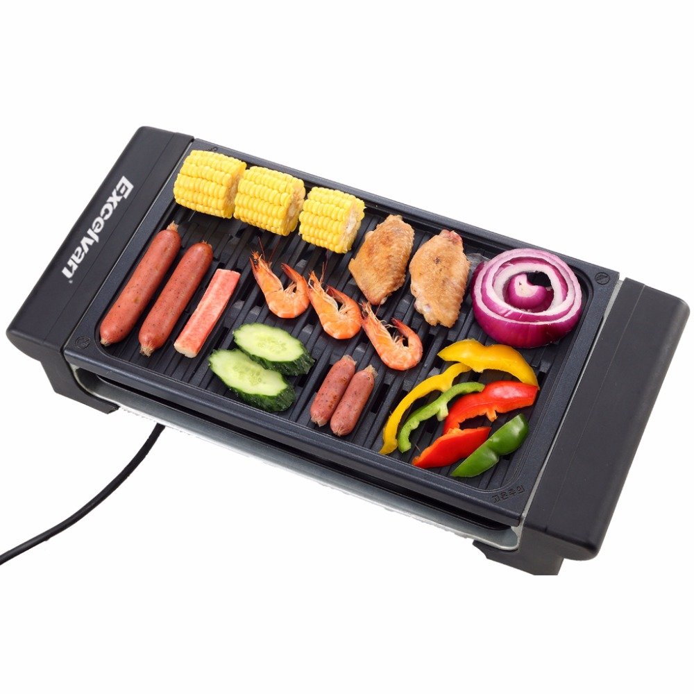 Electric Grill Indoor Barbecue Family BBQ Grill Stainless Steel Oven Non-stick Surface Ribbed Grill Style 1400W UK US EU Plug(China (Mainland))